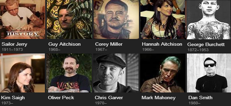 Tatoo artists frequently mentioned on the web